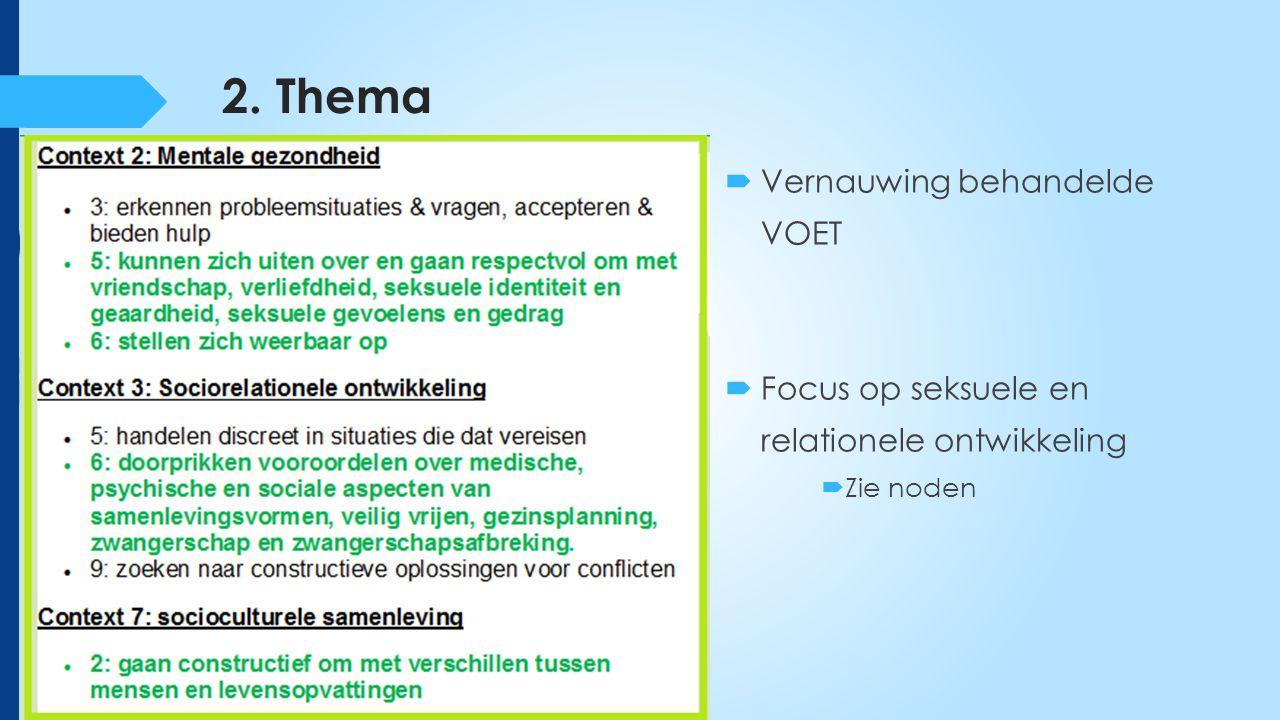 2. Thema  Vernauwing behandelde VOET  Focus op seksuele en relationele ontwikkeling  Zie noden