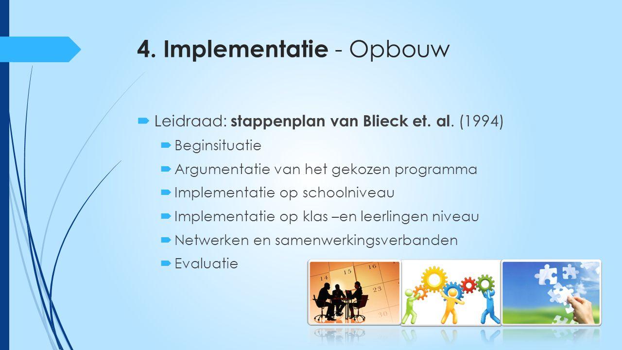 4. Implementatie - Opbouw  Leidraad: stappenplan van Blieck et.