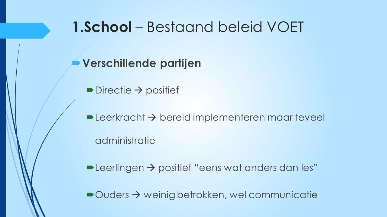 1.School – Bestaand beleid VOET  Schooltype B  Verscheidende thema's  VOET-coördinator  Geen continue opbouw over verschillende jaren  Weerstand bij leerkrachten door extra administratie