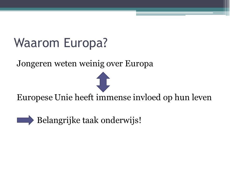 Waarom Europa? Jongeren weten weinig over Europa Europese Unie heeft immense invloed op hun leven Belangrijke taak onderwijs!