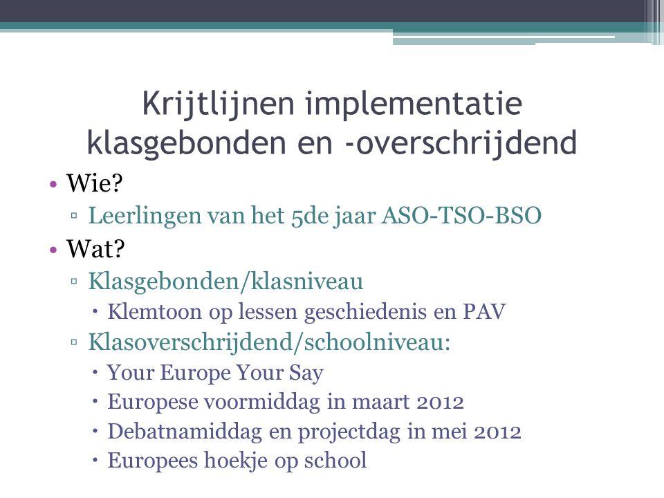 Krijtlijnen implementatie klasniveau Ontstaan en het waarom van Europese Unie ▫Belangrijk voor latere projectdagen  Spilvakken: geschiedenis en PAV  Op een toegankelijke en activerende manier  Mogelijke activiteiten.