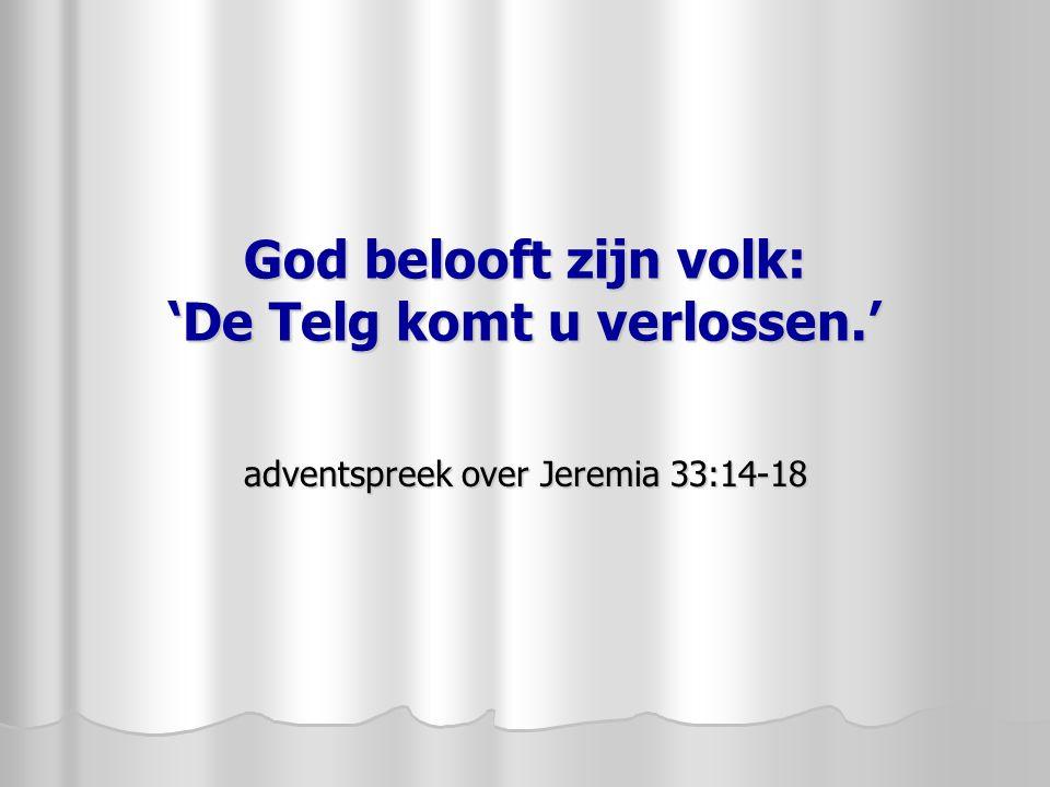 God belooft zijn volk: 'De Telg komt u verlossen.' adventspreek over Jeremia 33:14-18