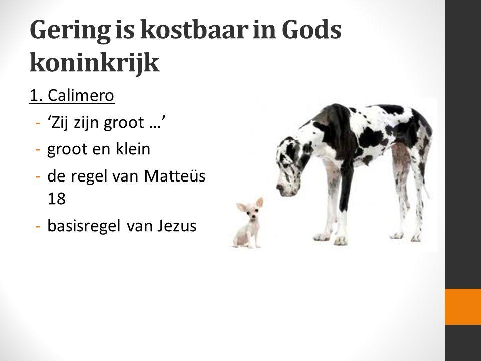 Gering is kostbaar in Gods koninkrijk 1. Calimero -'Zij zijn groot …' -groot en klein -de regel van Matteüs 18 -basisregel van Jezus