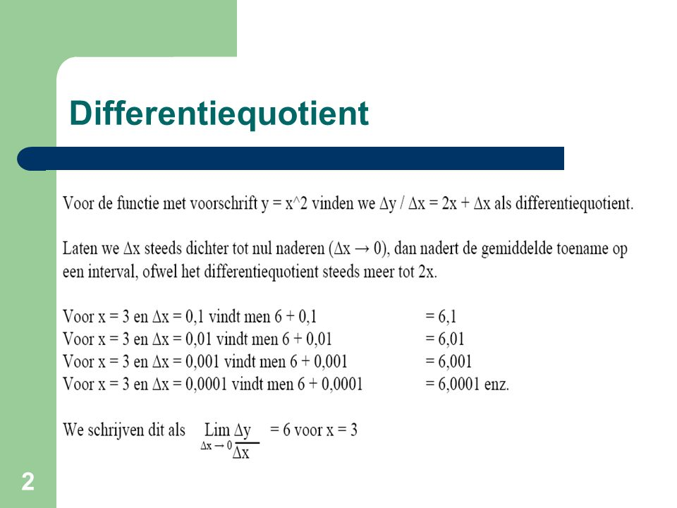 2 Differentiequotient