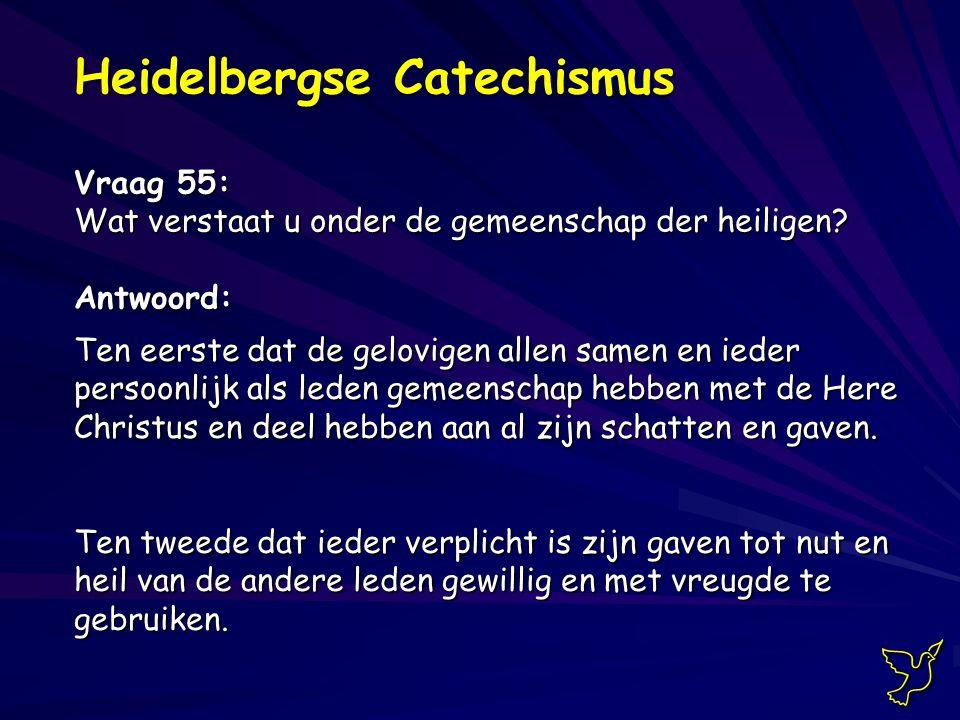 Heidelbergse Catechismus Vraag 55: Wat verstaat u onder de gemeenschap der heiligen.