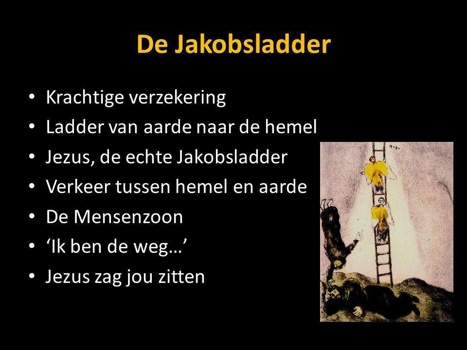 De Jakobsladder Krachtige verzekering Ladder van aarde naar de hemel Jezus, de echte Jakobsladder Verkeer tussen hemel en aarde De Mensenzoon 'Ik ben de weg…' Jezus zag jou zitten