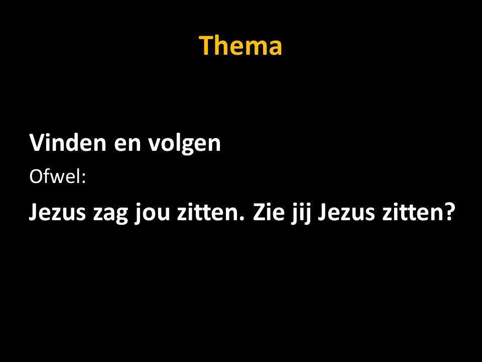 Thema Vinden en volgen Ofwel: Jezus zag jou zitten. Zie jij Jezus zitten?