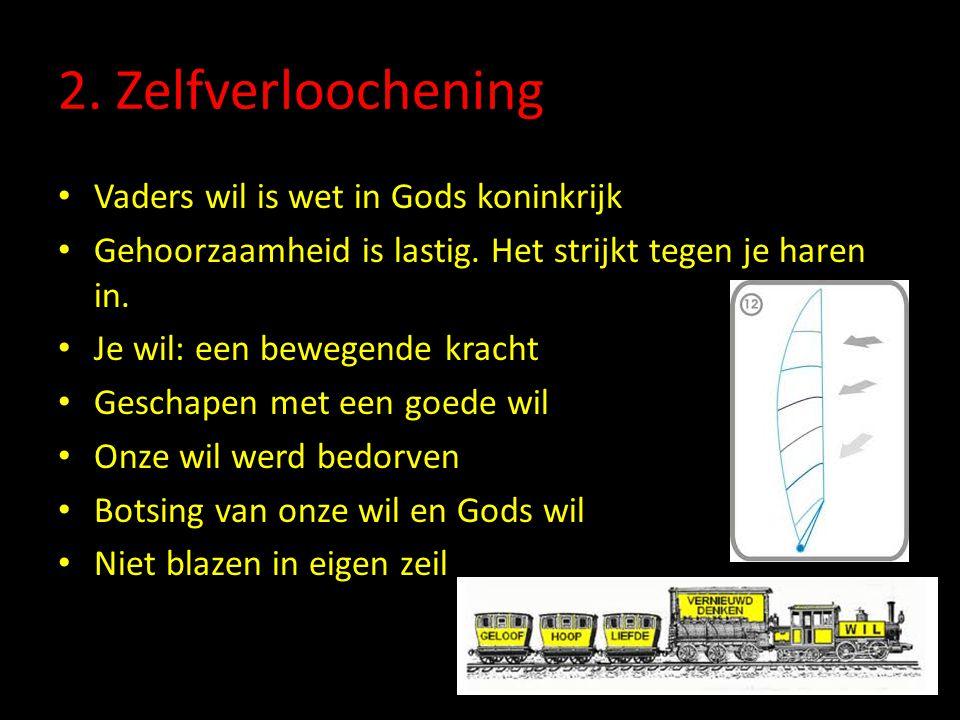2. Zelfverloochening Vaders wil is wet in Gods koninkrijk Gehoorzaamheid is lastig. Het strijkt tegen je haren in. Je wil: een bewegende kracht Gescha
