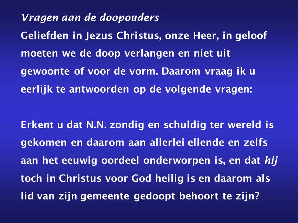 Vragen aan de doopouders Geliefden in Jezus Christus, onze Heer, in geloof moeten we de doop verlangen en niet uit gewoonte of voor de vorm. Daarom vr