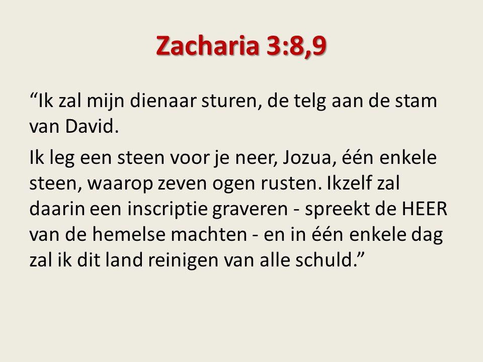 """Zacharia 3:8,9 """"Ik zal mijn dienaar sturen, de telg aan de stam van David. Ik leg een steen voor je neer, Jozua, één enkele steen, waarop zeven ogen r"""