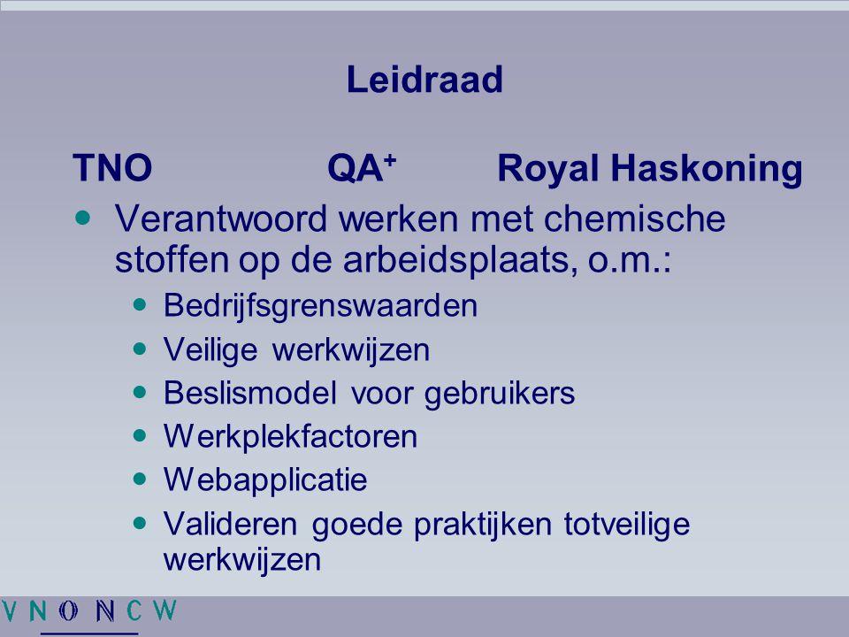 Leidraad TNOQA + Royal Haskoning Verantwoord werken met chemische stoffen op de arbeidsplaats, o.m.: Bedrijfsgrenswaarden Veilige werkwijzen Beslismodel voor gebruikers Werkplekfactoren Webapplicatie Valideren goede praktijken totveilige werkwijzen