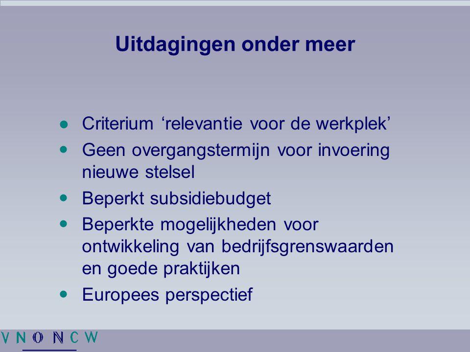 Uitdagingen onder meer ●Criterium 'relevantie voor de werkplek' Geen overgangstermijn voor invoering nieuwe stelsel Beperkt subsidiebudget Beperkte mogelijkheden voor ontwikkeling van bedrijfsgrenswaarden en goede praktijken Europees perspectief