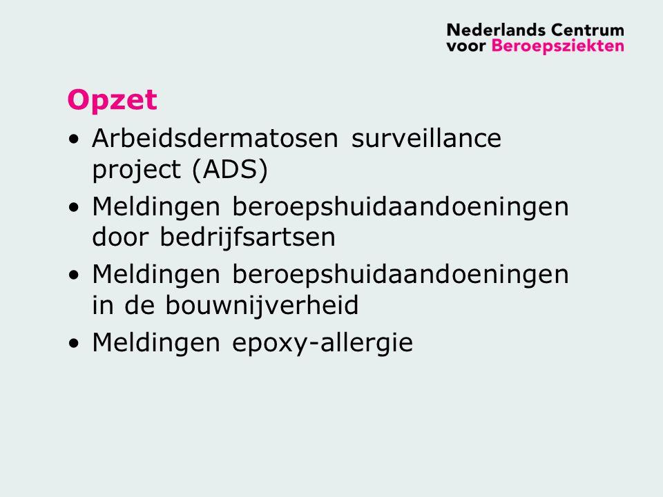 Arbeidsdermatosen Surveillance Project (ADS) Peilstation 25 dermatologen Maandelijks rapportage nieuwe gevallen van arbeidsdermatosen Per melding rapportage van –Diagnose –Beroep –Oorzakelijk agens