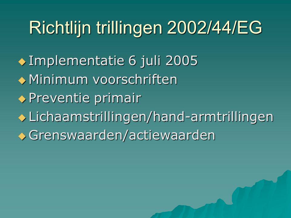 Richtlijn trillingen 2002/44/EG  Implementatie 6 juli 2005  Minimum voorschriften  Preventie primair  Lichaamstrillingen/hand-armtrillingen  Grenswaarden/actiewaarden
