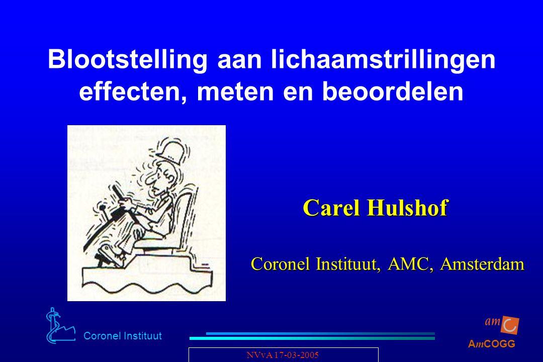 Coronel Instituut A m COGG NVvA 17-03-2005 Blootstelling aan lichaamstrillingen effecten, meten en beoordelen Carel Hulshof Carel Hulshof Coronel Inst