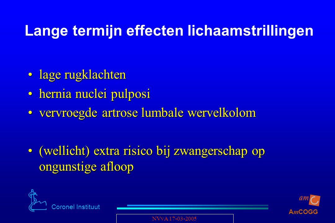 Coronel Instituut A m COGG NVvA 17-03-2005 Lange termijn effecten lichaamstrillingen lage rugklachtenlage rugklachten hernia nuclei pulposihernia nucl