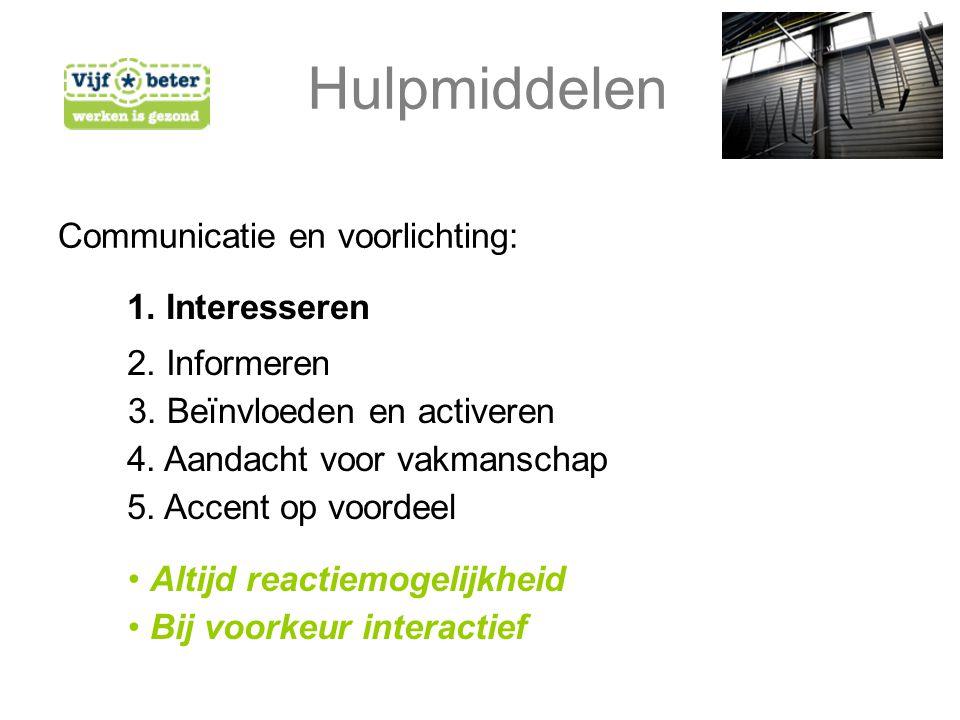 Hulpmiddelen Communicatie en voorlichting: 5. Accent op voordeel 2.