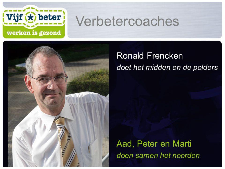 Ronald Frencken doet het midden en de polders Aad, Peter en Marti doen samen het noorden Verbetercoaches