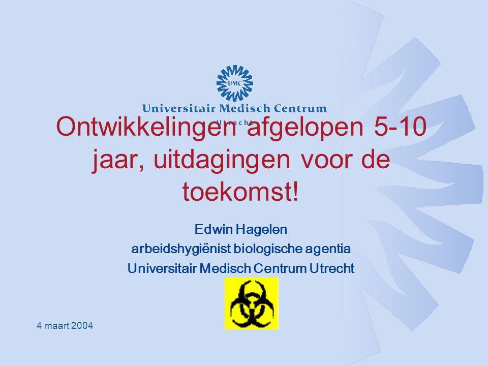 Introductie Introductie, achtergrond Arbeidshygiënist (RAH) biologische agentia bij afdeling Ziekenhuishygiëne en Infectiepreventie in UMC Utrecht (en deels bij Arbo- en milieudienst) Gericht op gezondheidszorg !
