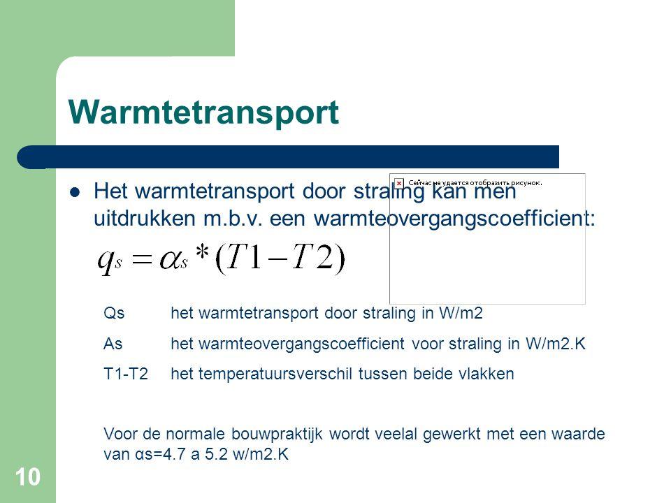 10 Warmtetransport Het warmtetransport door straling kan men uitdrukken m.b.v. een warmteovergangscoefficient: Qshet warmtetransport door straling in