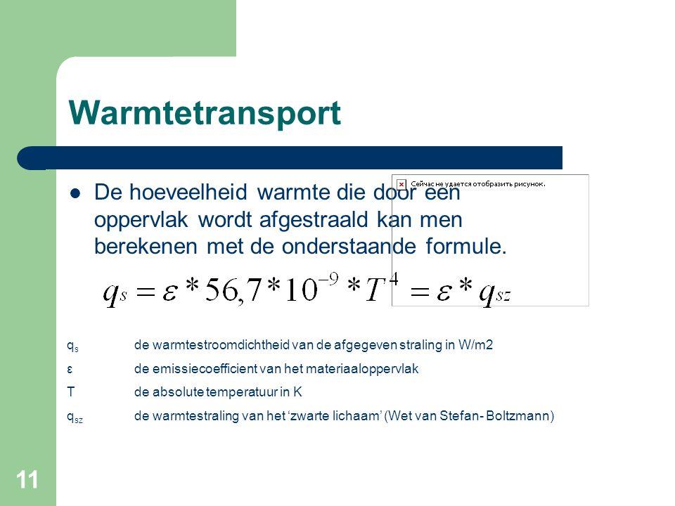 11 Warmtetransport De hoeveelheid warmte die door een oppervlak wordt afgestraald kan men berekenen met de onderstaande formule. q s de warmtestroomdi