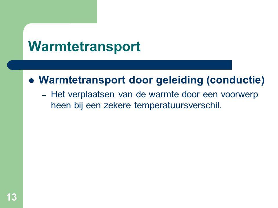 13 Warmtetransport Warmtetransport door geleiding (conductie) – Het verplaatsen van de warmte door een voorwerp heen bij een zekere temperatuursversch