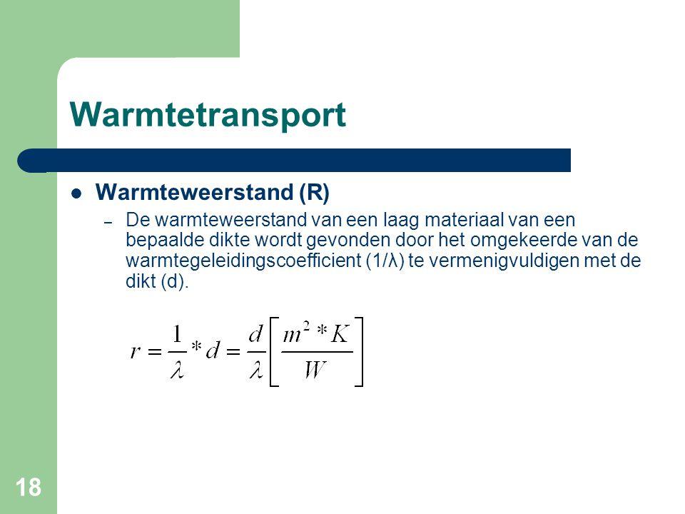 18 Warmtetransport Warmteweerstand (R) – De warmteweerstand van een laag materiaal van een bepaalde dikte wordt gevonden door het omgekeerde van de wa