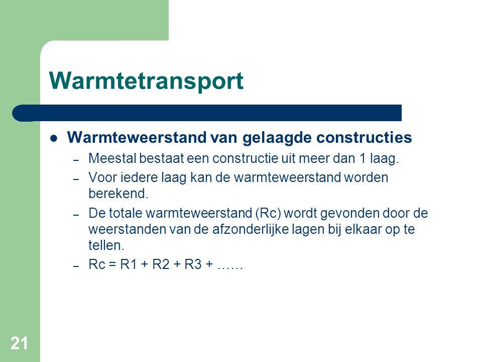 21 Warmtetransport Warmteweerstand van gelaagde constructies – Meestal bestaat een constructie uit meer dan 1 laag. – Voor iedere laag kan de warmtewe