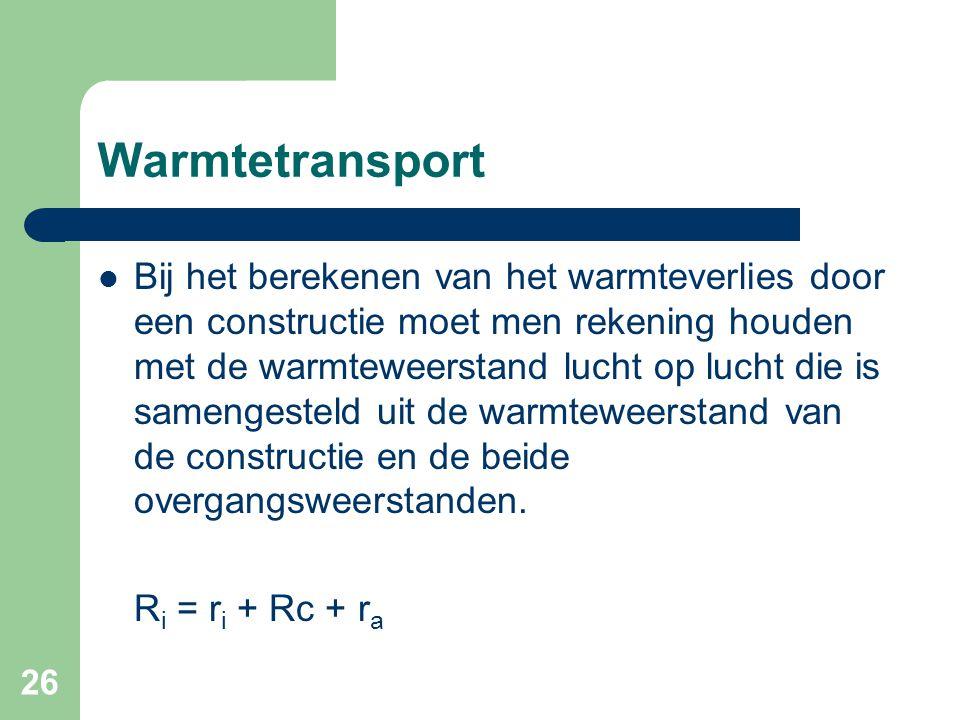 26 Warmtetransport Bij het berekenen van het warmteverlies door een constructie moet men rekening houden met de warmteweerstand lucht op lucht die is