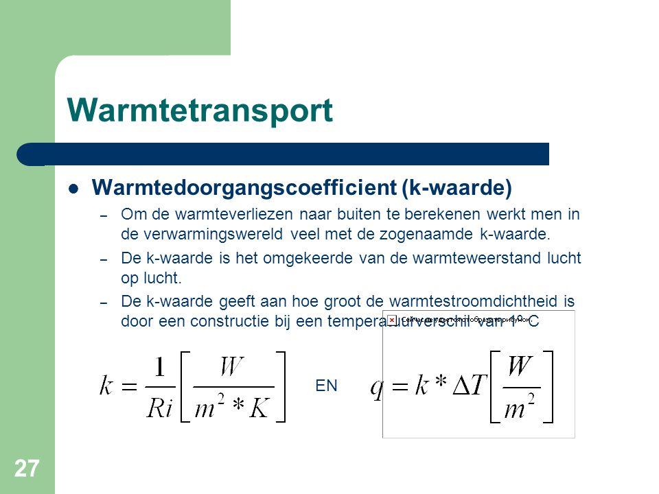 27 Warmtetransport Warmtedoorgangscoefficient (k-waarde) – Om de warmteverliezen naar buiten te berekenen werkt men in de verwarmingswereld veel met d
