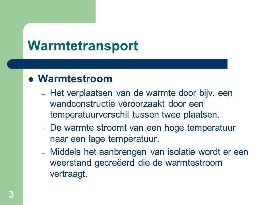 3 Warmtetransport Warmtestroom – Het verplaatsen van de warmte door bijv. een wandconstructie veroorzaakt door een temperatuurverschil tussen twee pla