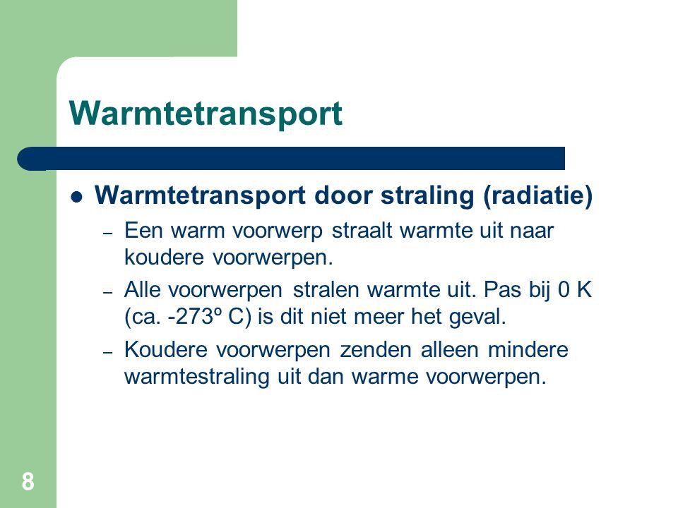 8 Warmtetransport Warmtetransport door straling (radiatie) – Een warm voorwerp straalt warmte uit naar koudere voorwerpen. – Alle voorwerpen stralen w