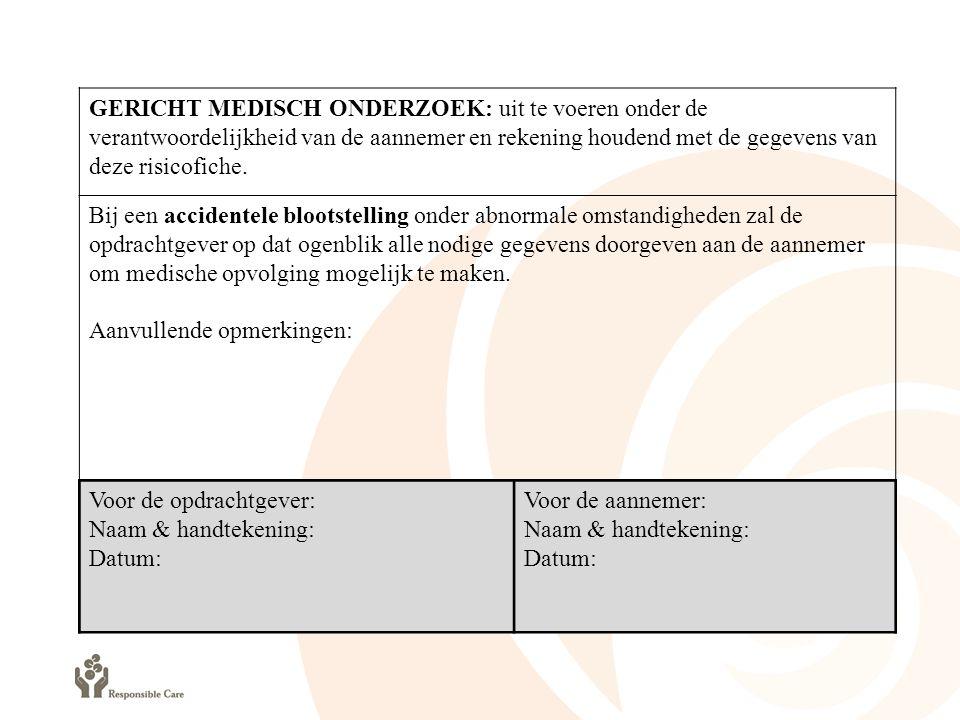 GERICHT MEDISCH ONDERZOEK: uit te voeren onder de verantwoordelijkheid van de aannemer en rekening houdend met de gegevens van deze risicofiche.