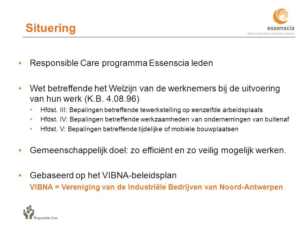 Responsible Care programma Essenscia leden Wet betreffende het Welzijn van de werknemers bij de uitvoering van hun werk (K.B.