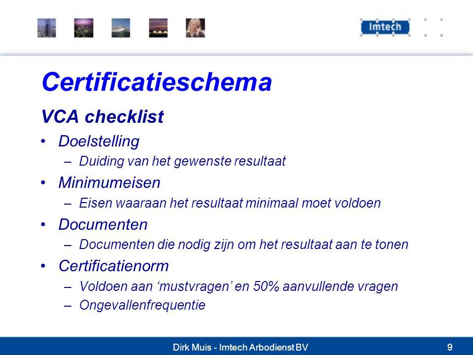 Dirk Muis - Imtech Arbodienst BV9 Certificatieschema VCA checklist Doelstelling –Duiding van het gewenste resultaat Minimumeisen –Eisen waaraan het resultaat minimaal moet voldoen Documenten –Documenten die nodig zijn om het resultaat aan te tonen Certificatienorm –Voldoen aan 'mustvragen' en 50% aanvullende vragen –Ongevallenfrequentie