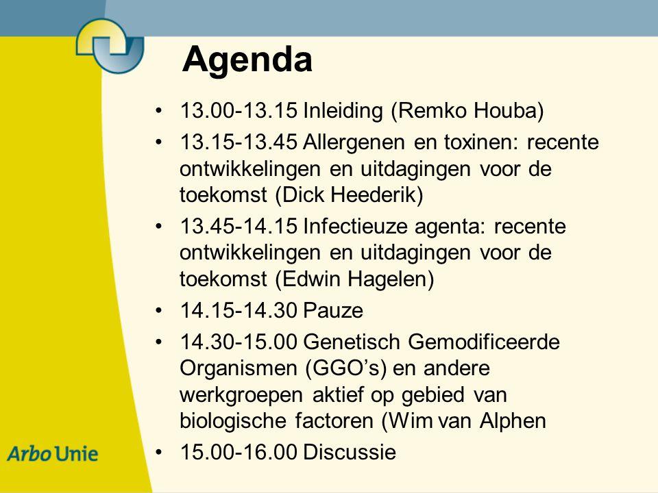 Agenda 13.00-13.15 Inleiding (Remko Houba) 13.15-13.45 Allergenen en toxinen: recente ontwikkelingen en uitdagingen voor de toekomst (Dick Heederik) 13.45-14.15 Infectieuze agenta: recente ontwikkelingen en uitdagingen voor de toekomst (Edwin Hagelen) 14.15-14.30 Pauze 14.30-15.00 Genetisch Gemodificeerde Organismen (GGO's) en andere werkgroepen aktief op gebied van biologische factoren (Wim van Alphen 15.00-16.00 Discussie