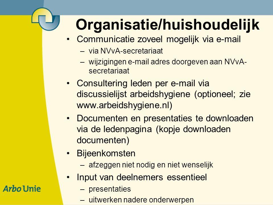 Organisatie/huishoudelijk Communicatie zoveel mogelijk via e-mail –via NVvA-secretariaat –wijzigingen e-mail adres doorgeven aan NVvA- secretariaat Consultering leden per e-mail via discussielijst arbeidshygiene (optioneel; zie www.arbeidshygiene.nl) Documenten en presentaties te downloaden via de ledenpagina (kopje downloaden documenten) Bijeenkomsten –afzeggen niet nodig en niet wenselijk Input van deelnemers essentieel –presentaties –uitwerken nadere onderwerpen