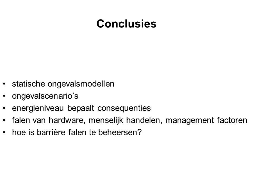 Conclusies statische ongevalsmodellen ongevalscenario's energieniveau bepaalt consequenties falen van hardware, menselijk handelen, management factore