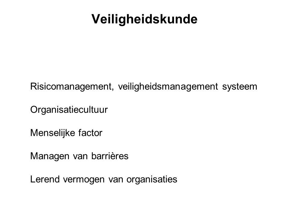 Veiligheidskunde Risicomanagement, veiligheidsmanagement systeem Organisatiecultuur Menselijke factor Managen van barrières Lerend vermogen van organi