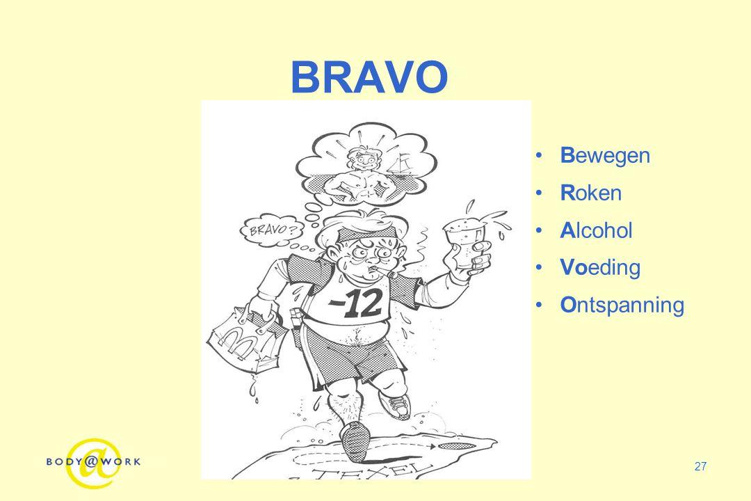 27 BRAVO Bewegen Roken Alcohol Voeding Ontspanning