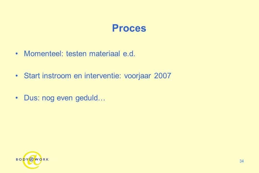 34 Proces Momenteel: testen materiaal e.d. Start instroom en interventie: voorjaar 2007 Dus: nog even geduld…
