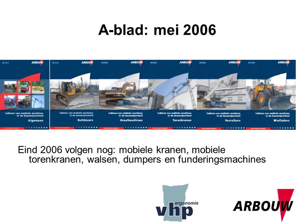 12 Eind 2006 volgen nog: mobiele kranen, mobiele torenkranen, walsen, dumpers en funderingsmachines A-blad: mei 2006