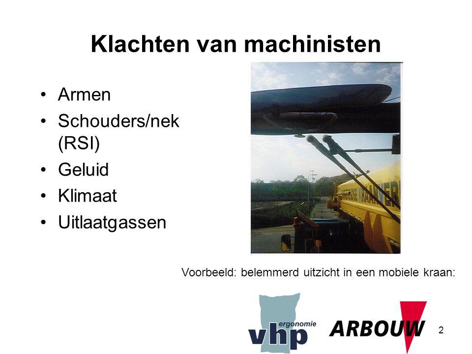 2 Klachten van machinisten Armen Schouders/nek (RSI) Geluid Klimaat Uitlaatgassen Voorbeeld: belemmerd uitzicht in een mobiele kraan: