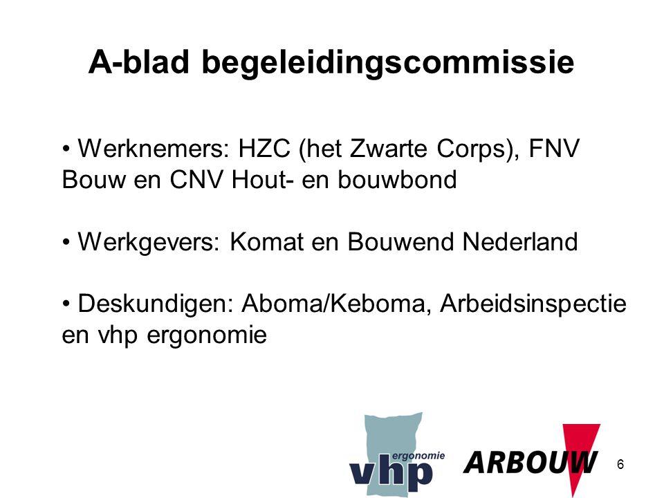 6 Werknemers: HZC (het Zwarte Corps), FNV Bouw en CNV Hout- en bouwbond Werkgevers: Komat en Bouwend Nederland Deskundigen: Aboma/Keboma, Arbeidsinspe