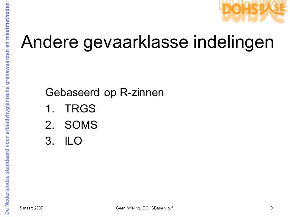 15 maart 2007Geert Wieling, DOHSBase v.o.f.9 Andere gevaarklasse indelingen Gebaseerd op R-zinnen 1.TRGS 2.SOMS 3.ILO
