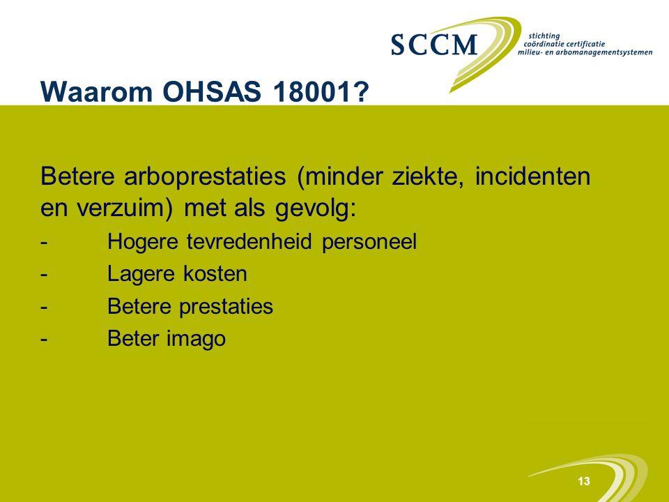 13 Waarom OHSAS 18001? Betere arboprestaties (minder ziekte, incidenten en verzuim) met als gevolg: -Hogere tevredenheid personeel -Lagere kosten -Bet