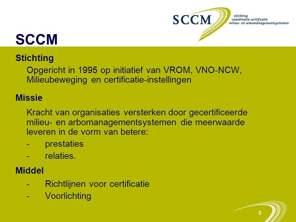 3 SCCM Stichting Opgericht in 1995 op initiatief van VROM, VNO-NCW, Milieubeweging en certificatie-instellingen Missie Kracht van organisaties verster