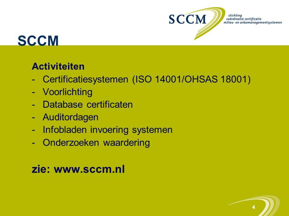 4 SCCM Activiteiten -Certificatiesystemen (ISO 14001/OHSAS 18001) -Voorlichting -Database certificaten -Auditordagen -Infobladen invoering systemen -O