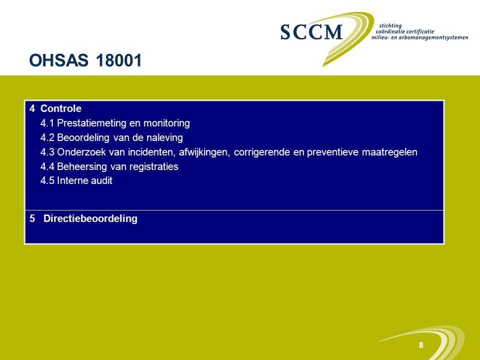 8 OHSAS 18001 4 Controle 4.1 Prestatiemeting en monitoring 4.2 Beoordeling van de naleving 4.3 Onderzoek van incidenten, afwijkingen, corrigerende en