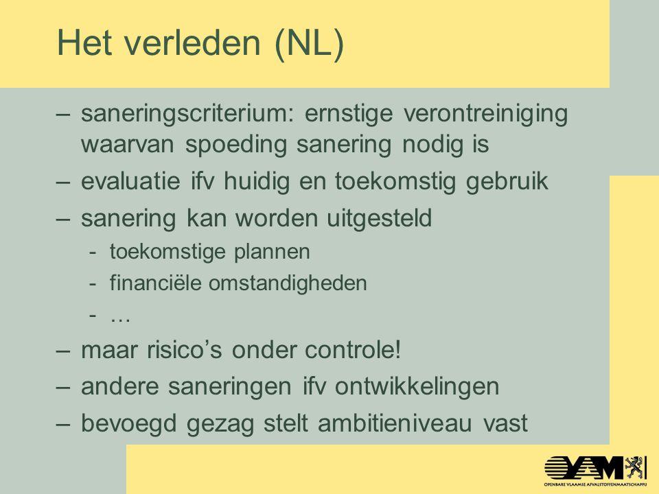 Het verleden (NL) –saneringscriterium: ernstige verontreiniging waarvan spoeding sanering nodig is –evaluatie ifv huidig en toekomstig gebruik –saneri